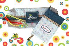 Hülle für Reservewindeln (Zusatzfach hinten für Freuchttücher) Mutterkindpass Hülle (Norm für A)  Jeans und Popeline plus Samt und Satinbänder