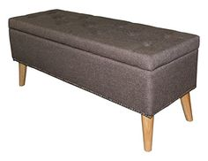 Ore International HB4669 17'H Grey Tefted Storage Bench *** Read more reviews of the product by visiting the link on the image. (This is an affiliate link) #entrancebench Tufted Storage Bench, Upholstered Ottoman, Bench With Storage, Hidden Storage, Suede Fabric, Foam Cushions, Teak Wood, Storage Spaces, Upholstery