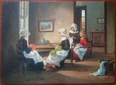Seamstresses, by the artist Van Cleef early XXe.  Painting of three women and a young girl during a sewing session.  Oil on fine panel, signed lower right.  In good condition, to highlight holes on the right of panel that will be hidden by the rebate of a frame.  Format: 39 cm x 29 cm (15.3 in x 11.4 in).