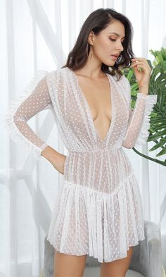 88b8ccbbea Sweet Vixen White Sheer Mesh Swiss Dot Lace Long Sleeve Plunge V Neck  Ruffle Casual Mini Dress