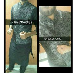 Men Black Designer Kurta Pyjama waist coat set WhatsApp : +919953670839 Worldwide Shipping & Delivery
