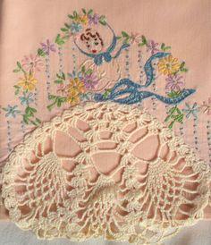 Single Southern Belle Pillowcase Crocheted skirt by RosesBelles