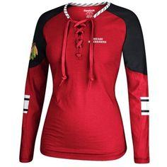 Chicago Blackhawks Reebok Women's Lace-Up Long Sleeve Hockey Top