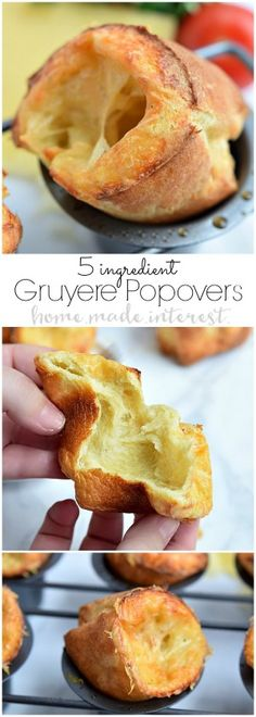 These easy Gruyere Popovers are a fluffy, cheesy popover recipe that would be the perfect bread to make for Thankgiving dinner or Christmas dinner! Popovers are actually a really easy bread recipe that always impresses guests! Make this bread for your next dinner party and watch it disappear!