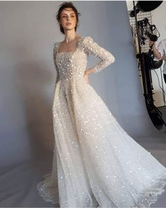Dreaming sparkle wedding dress Dress by Spina Bride Black Wedding Dresses, Wedding Dress Sleeves, Boho Wedding Dress, Bridal Dresses, Chanel Wedding Dress, 50s Wedding, Wedding Veil, Wedding Ideas, Dress Plus Size