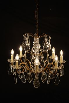 Fully restored period French chandelier, late 1930's - early 1940's
