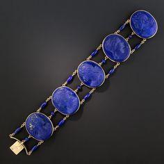 Victorian Lapis Lazuli Cameo Bracelet – What's New Viktorianisches Lapislazuli-Kameenarmband – Was neu ist Lapis Lazuli Bracelet, Lapis Lazuli Jewelry, Aquamarine Jewelry, Victorian Jewelry, Antique Jewelry, Vintage Jewelry, Vintage Brooches, Sea Glass Jewelry, Wire Jewelry