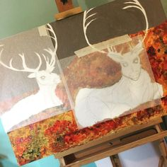 Time to get to finishing this piece up. Big show .@CREWinery at the end of March #art #nature #antlers #caribou