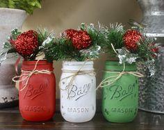Christmas Mason Jar Decor. Christmas Mason Jars. Painted Mason Jars. Christmas Decorations. Christmas Centerpiece. Rustic Christmas Decor.