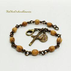Benedict Crucifix Holy Land Olive Wood Beads Rosary Bracelet Handmade C Handmade Bracelets, Beaded Bracelets, Rosary Bracelet, Handmade Items, Handmade Gifts, Crucifix, Miraculous, Etsy Shop, Holy Land
