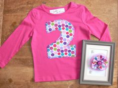 2 birthday party SHIRT and matching HAIR CLIP ... girls 2nd birthday set. $22.00, via Etsy.