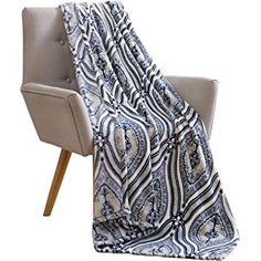Elegant Damask Velvet Fleece Throw Blanket: Soft Plush Teardrop Moroccan Accent for Couch or Bed, Colored: Stone Blue Grey Black White VCNY Rosamond Teal Throws, Blue Grey, Black And White, Fleece Throw, Accent Pieces, Damask, Floral Design, Plush, Velvet