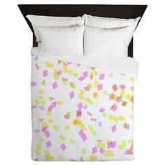 Pink and Yellow Confetti Queen Duvet