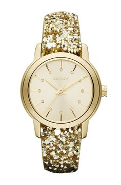 Because every outfit needs a touch of gold: dkny sparkle strap watch.