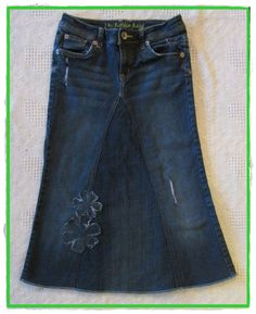 Girls size ~12 ~  A really cute custom made jean skirt. For sale $20.00 ~ Check out my Facebook page- East Coast Skirts for more details.