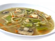 Super Healthy and Delicious, Chinese Chicken Vegetable Soup. Loaded with veggies and broccoli slaw instead noodles! Each main course bowl has only 178 calories, 3 grams of fat, and 4 Weight Watchers POINT PLUS. http://www.skinnykitchen.com/recipes/super-healthy-and-delicious-chinese-chicken-vegetable-soup/