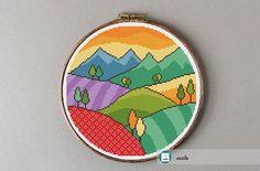 Mountains and hills cross stitch pattern, modern cross stitch pattern, PDF, instant download