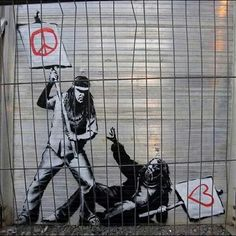 Banksy is one of the today's most prolific artists yet his identity remains unknown. Best known for his satirical street art, the artist debuted his first film, Exit Through the Gift S… Banksy Graffiti, Street Art Banksy, Graffiti Artwork, Graffiti Drawing, Bansky, Banksy Canvas, Urban Graffiti, Urban Street Art, Urban Art