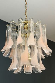 Murano Glass Petal Chandelier | From a unique collection of antique and modern chandeliers and pendants at https://www.1stdibs.com/furniture/lighting/chandeliers-pendant-lights/