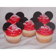 Disney Minnie Mouse Birthday Cake and Cupcakes ❤ liked on Polyvore