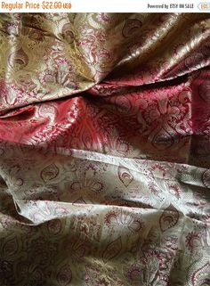 15% OFF Silk Brocade Fabric Beige, Maroon and Gold Floral Pattern Weaving  - Indian Silk, Wedding Dress Fabric - Pure Banarasi Silk Fabric b