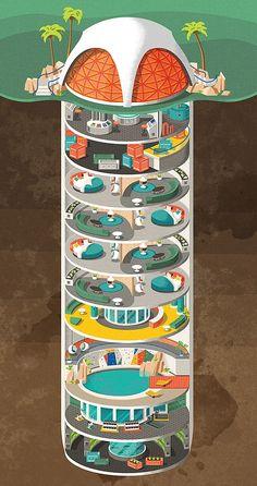 An artist's impression of a high-spec bunker built inside a former missile silo © Daniel Long Underground Shelter, Underground Homes, Casa Bunker, Apocalypse Survival, Zombie Apocalypse, Dome House, Survival Shelter, Futuristic Architecture, Retro Futurism