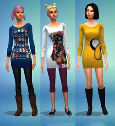 Sims 4 Updates: Sweater dress at Kiwi Sims 4