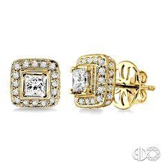Princess Cut Diamond Stud Earrings With Pave Set Haloilgrain Detail In 14k