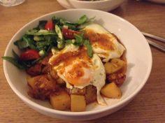 Delicious: potatoes (harvested from my garden yesterday) chorizo, onions, eggs & salad. #glutenfree #dairyfree #sugarfree #yeastfree