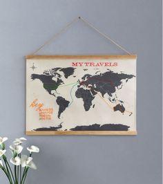 Carte du monde à broder en toile en point de croix