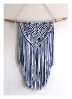Macrame wall hanging 'Blue Heart'