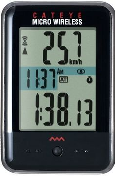 CatEye Micro Wireless Bicycle Computer CC-MC200W (Black) by Cateye. $52.00. No more scrolling through functions - the Micro Wireless allows you to customize your display and view it on a larger, LED backlit screen. It also features a slim body and is available in black or white. Functions include Current speed, Maximum speed, Average speed, Odometer, Trip distance 1 & 2, Elapsed time, Stopwatch and Clock.. Save 13% Off!