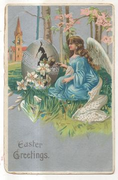 Angel with Egg, Easter Greetings Vintage Easter Postcard #Easter