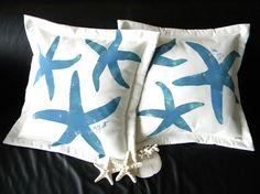 "Blue green coastal starfish sea star 20"" pillow painted ocean beach cabin marine nautical seashore seaside saltwater echinoderm"