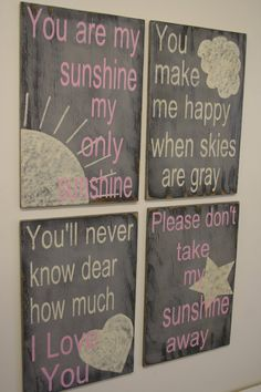 You Are My Sunshine Nursery Decor Gray and Pink Nursery Shabby Chic Nursery Baby Shower Baby Gift New Baby Handpainted Nursery Wallhanging