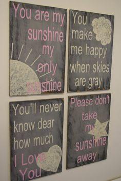 You Are My Sunshine Nursery Decor Gray and Pink Nursery Shabby Chic Nursery Baby Shower Baby Gift New Baby Handpainted Nursery Wallhanging