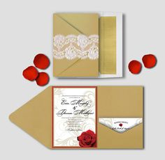 Rose & Swirls Gold Wedding Invitation Set by silentlyscreaming inspired by Beauty and the Beast