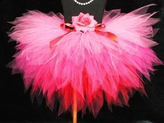 Sewn Tutu - Pink Red - Hearts Afire - Custom 3 Tiered Pixie Tutu and Headband Set - Perfect for Valentine's Day