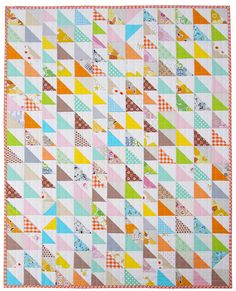 """Red Pepper Quilts: Save the Scraps! What a great idea!  She used 2 1/2 and 3"""" half square triangle blocks to make this quilt!  All scraps!"""