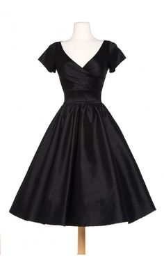 Pinup Couture- Ava Swing Dress in Black Taffeta | Pinup Girl Clothing