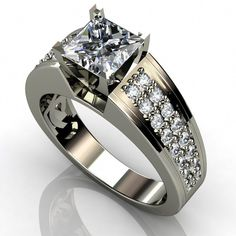 This is an incredible carat Princess Cut Diamond Engagement Ring stamped in White Gold. It features White Diamonds all within a prong setting & the total width is with 36 accent side stones. Ring Set, Ring Verlobung, Gold Ring, Princess Cut Rings, Princess Cut Diamonds, Unusual Engagement Rings, Diamond Engagement Rings, Diamond Rings, Diamond Jewelry
