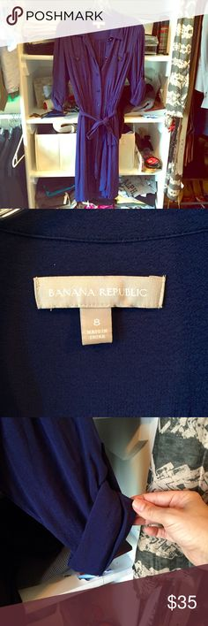 Banana Republic RETAIL shirt dress Beautiful navy shirt dress, size 8! Like new condition, convertible sleeves can be worn long or buttoned up. Crepe material, matching slip included! Trade only for exact item in size 6. Banana Republic Dresses