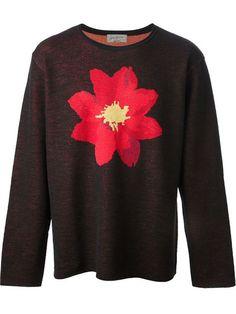 Yohji Yamamoto floral motif sweater