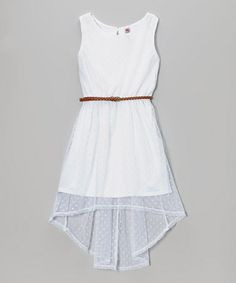 Another great find on #zulily! White Pin Dot Belted Hi-Low Dress by Beautees #zulilyfinds