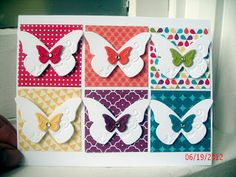 Tarjeta con mariposas... me gustan los contrastes de color. http://www.stamp2bsane.blogspot.com