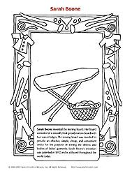 sarah boone coloring sheet the inventor of the ironing board