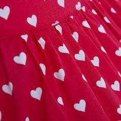 'Bernadette' Red Heart Print Swing Skirt