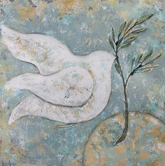 Peace Dove painting abstract art  canvas print by © Kirsten Reed Art