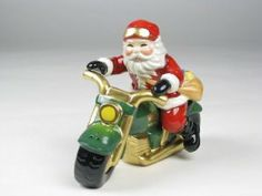 Fine Porcelain Christmas Gifts Collectible - Santa Salt and Pepper Shaker - Santa and Motocycle by Cosmos. $19.99