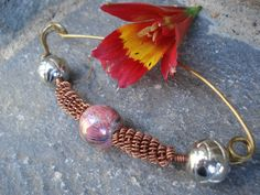 Bronze Copper Wire Shawl Scarf Pin Wire Wrapped Beaded Fibula Pin Modern Mixed Wire Beaded Scarf Shawl Sweater Pin Pink Silver Carved Beads
